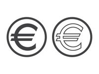Euro currency symbol isolated on white. European Sign monetary unit