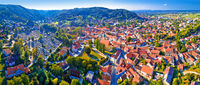 Samobor cityscape and surrounding hills aerial panoramic view
