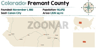 Map of Fremont County in Colorado