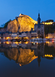 Cityscape at night of Dinant, Belgium