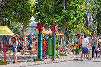 Children playing at a playground in Budapest Zoo, Hungary