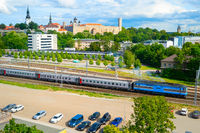 Tallinn uraban skyline, parking, railroad