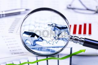 Börsenkurse und Bulle und Bär