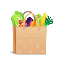 Brown paper or linen eco bag with place for text and fresh vegetables, healthy organic food