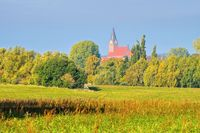 Barth Landschaft mit Kirche, alte Stadt am Bodden in Deutschland - Barth landscape and church, an old town on the Bodden in Germany