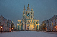 Smolny Convent in winter twilight. St. Petersburg, Russia.
