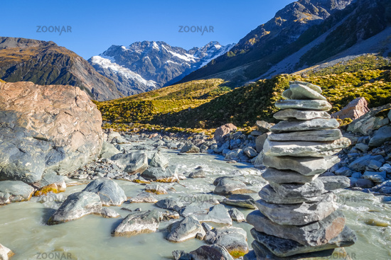 Glacial river in Hooker Valley Track, Mount Cook, New Zealand