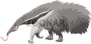 giant anteater animal cartoon illustration