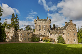 Front of Cawdor Castle with turret and drawbridge with bell and Stags Head Buckel Be Mindfull emblem. The castle has been known from Shakespeare's tragedy Macbeth