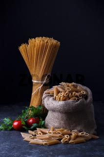 Whole grain dried spaghetti
