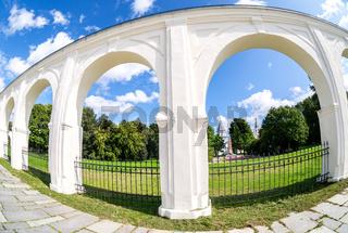 Arcade of Yaroslavovo courtyard in summer sunny day