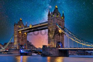 Tower Bridge, London, under a starry night, stars
