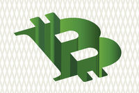 Bitcoin symbol as a green hole in finance.