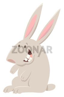 happy gray rabbit animal character