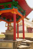 Buddhist temple Golden Abode of Buddha Shakyamuni in Elista, Republic of Kalmykia, Russia, sculptures of 17 great Pandits of Nalanda monastery.