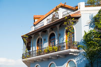 beautiful house facade, historic building exterior - Casco Viejo, Panama City,