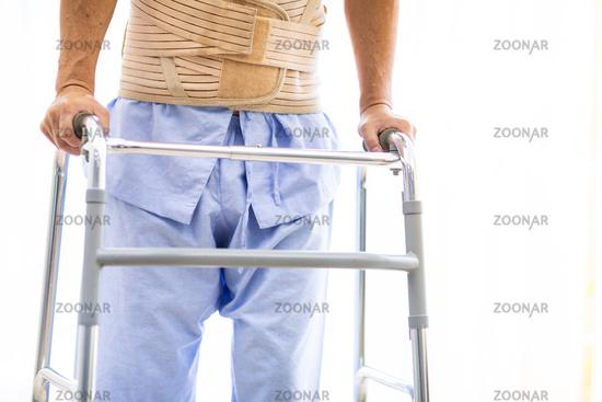elderly using adult walker