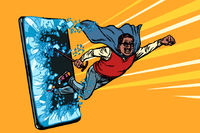 Old african man superhero punches the screen Phone gadget smartphone. Online Internet application service program