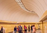 Crowd people walking metro underpass