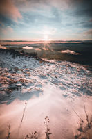 Majestic sunrise in the winter mountains landscape