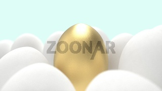 3d rendering of a golden egg amoung other eggs with pastel blue background