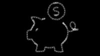 Piggy bank icon designed with drawing style on blackboard, animated footage ideal for compositing and motiongrafics