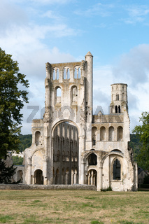 view of the ruins if the historic Jumieges Abbey in Normandy