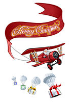 Cartoon retro Christmas airplane with banner