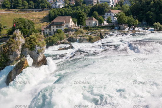 View from castle Laufen on Rhine Falls is the largest waterfall in Schaffhausen