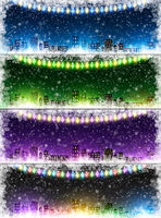 Set of Christmas city background