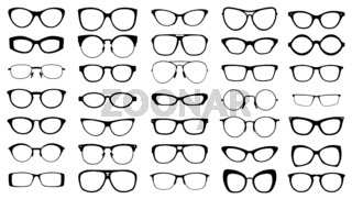 set of black vector glasses on white background