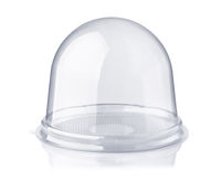 Empty clear dome plastic PET container