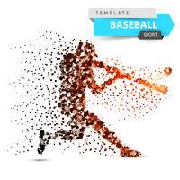 Baseball player - color dot illustration.