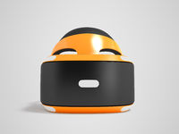Modern glasses of virtual reality for the front of the orange 3d render on gray background with shadow