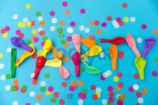 word party made of colorful balloons and confetti