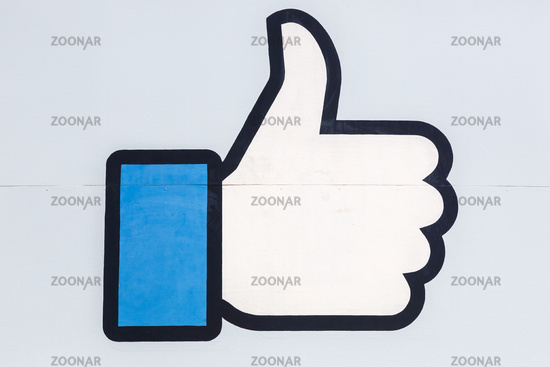 Facebook thumbs up like logo sign at the headquarter headquarters HQ