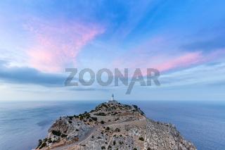 Mallorca Cap Formentor Abend Himmel Leuchtturm Meer Textfreiraum Reise Reisen Spanien