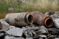 remains of ancient ceramic pipes from the water supply. Prefabricated sections of ceramics from which the pipeline was assembled.