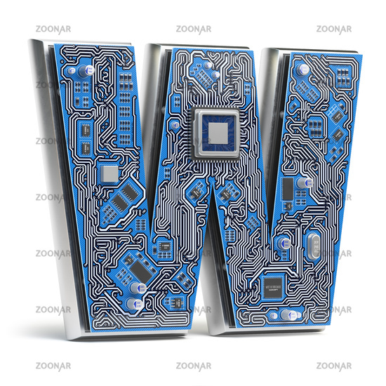 Letter W.  Alphabet in circuit board style. Digital hi-tech letter isolated on white.
