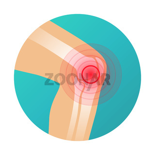 Joint pain, knee pain icon with red circle pain marker vector illustration.