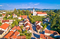 Green town of Samobor church and landscape aerial view