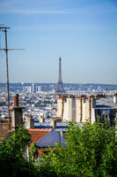 Aerial view of Paris and eiffel tower from the Butte Montmartre