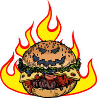 Halloween Burger in the flames of hell. Hot food