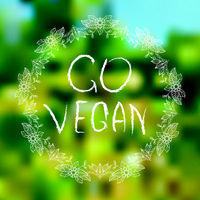 Go vegan. Hand-sketched typographic elements on blured background