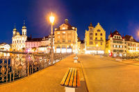 Luzern evening view of famous landmarks and Reuss river