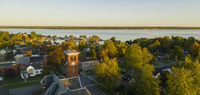 Aerial View Over Downtown Cape Vincent New York Marina Saint Lawrence River