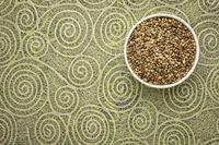 hemp seeds in a ceramic bowl