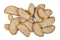 Bunch of rye bread slices on white