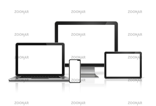 Computers and phone set mockup isolated on white. 3D render
