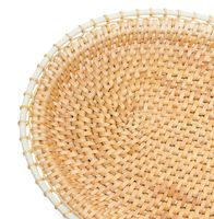 Craft. Top view of wicker tray, isolated on white
